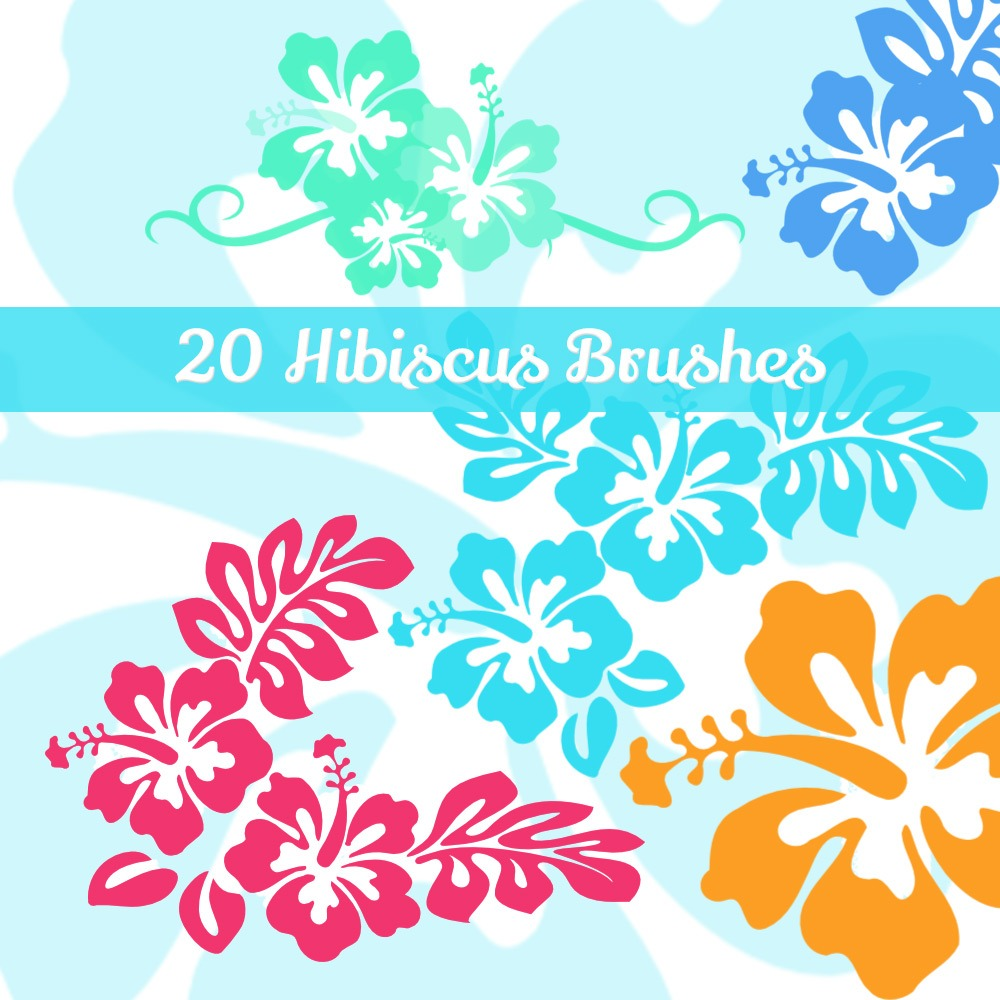 20 Hibiscus Flowers PS Brushes Photoshop brush
