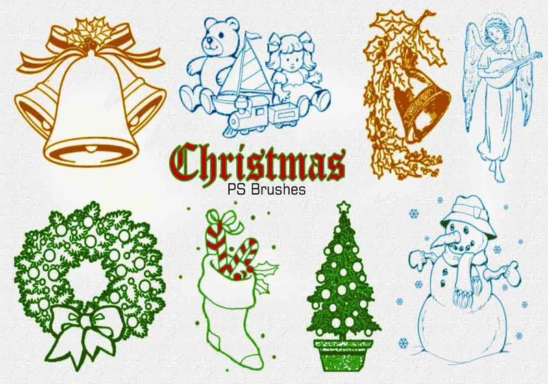20 Christmas Vintage PS Brushes abr. Vol.1 Photoshop brush