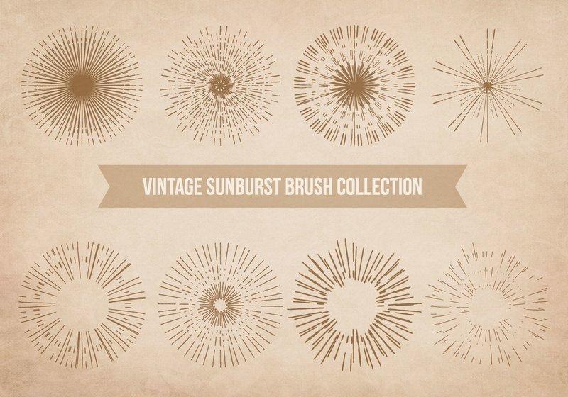 Vintage Sunburst Brushes Photoshop brush