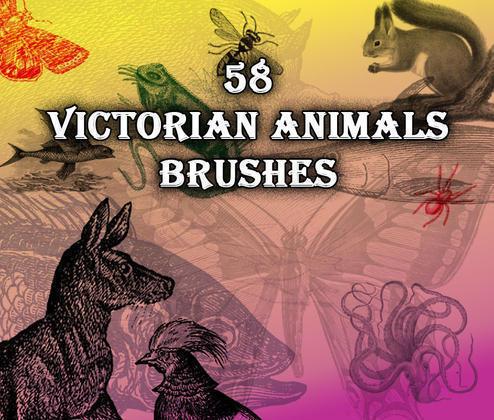58 Victorian Animal Brushes Photoshop brush