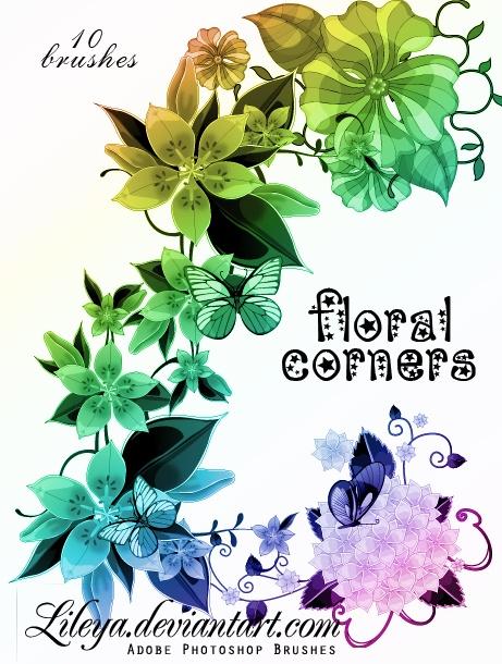 Floral Corners Photoshop brush