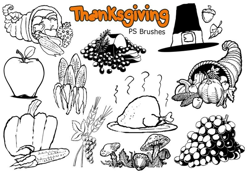20 Thanksgiving PS Brushes abr. Vol.2 Photoshop brush