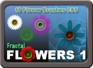Floral Brush Pack - 18 Fractal Flower Brushes  Photoshop brush