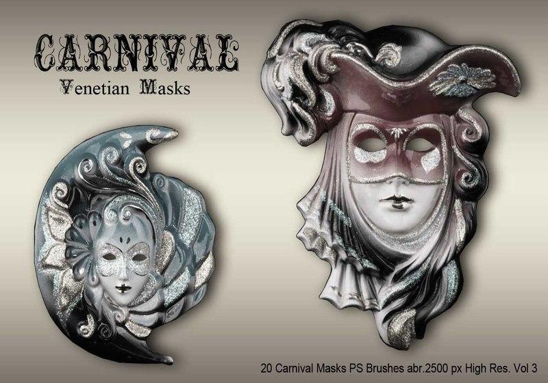 20 Carnival Masks PS Brushes abr.vol.3 Photoshop brush