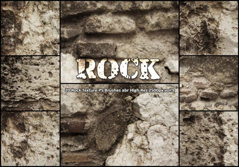 20 Rock Texture PS Brushes abr vol.9 Photoshop brush
