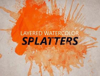 Layered Watercolor Splatters Photoshop brush