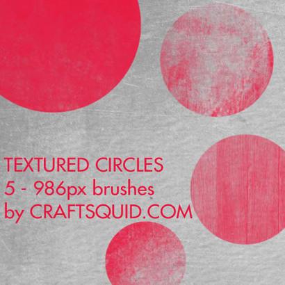 5 Grungy Textured Circles Photoshop brush