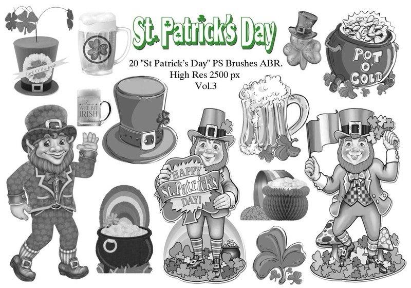 "20 ""St Patricks Day"" PS Brushes abr.Vol.3 Photoshop brush"