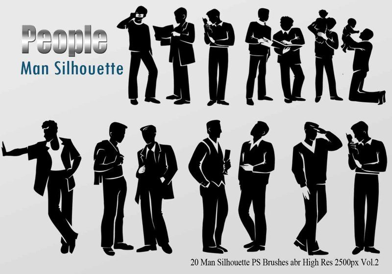 20 Man Silhouette PS Brushes vol.2 Photoshop brush