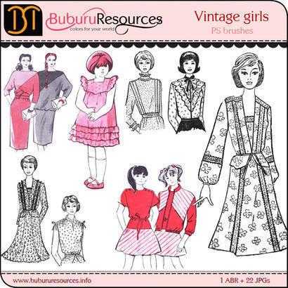 Vintage girls Free Brushes Photoshop brush