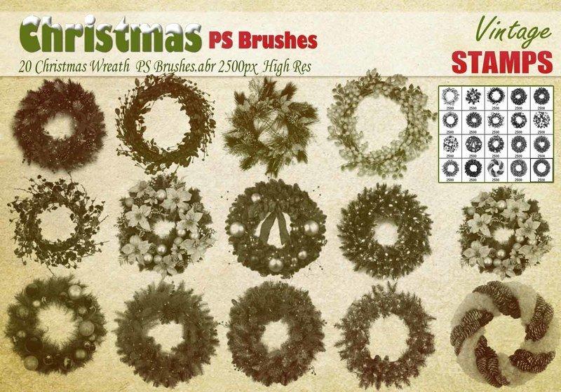 Christmas Wreath PS Brushes Photoshop brush