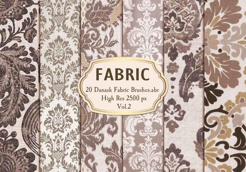 20 Damask Fabric Brushes.abr  Vol.2 Photoshop brush