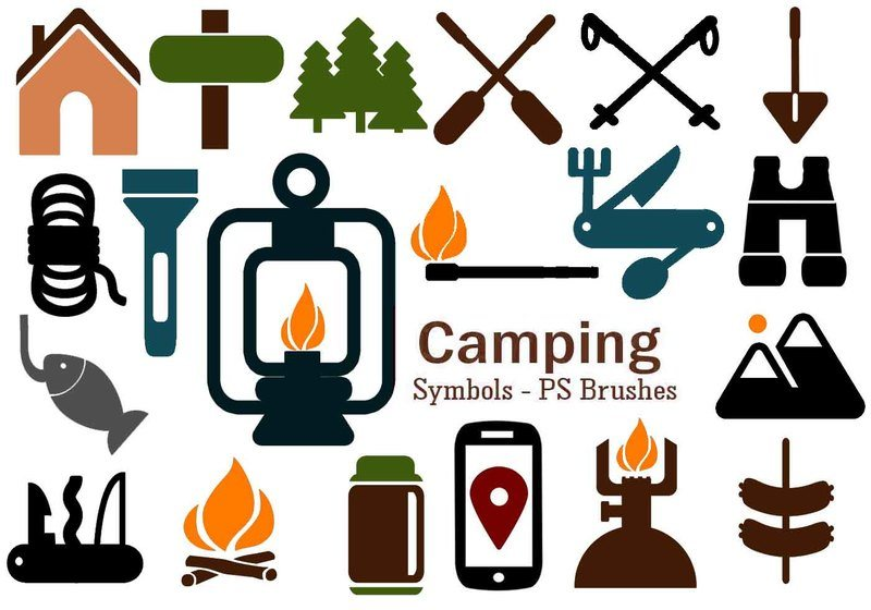20 Camping Symbol PS Brushes abr. Vol.7 Photoshop brush
