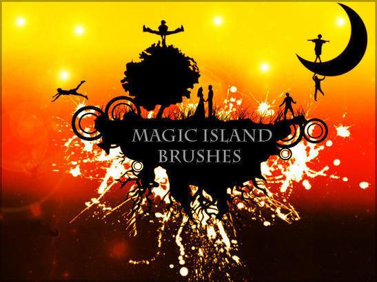 Magic Floating Island Brushes by rock91 Photoshop brush