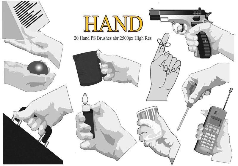 20 Hand PS Brushes abr.  Photoshop brush