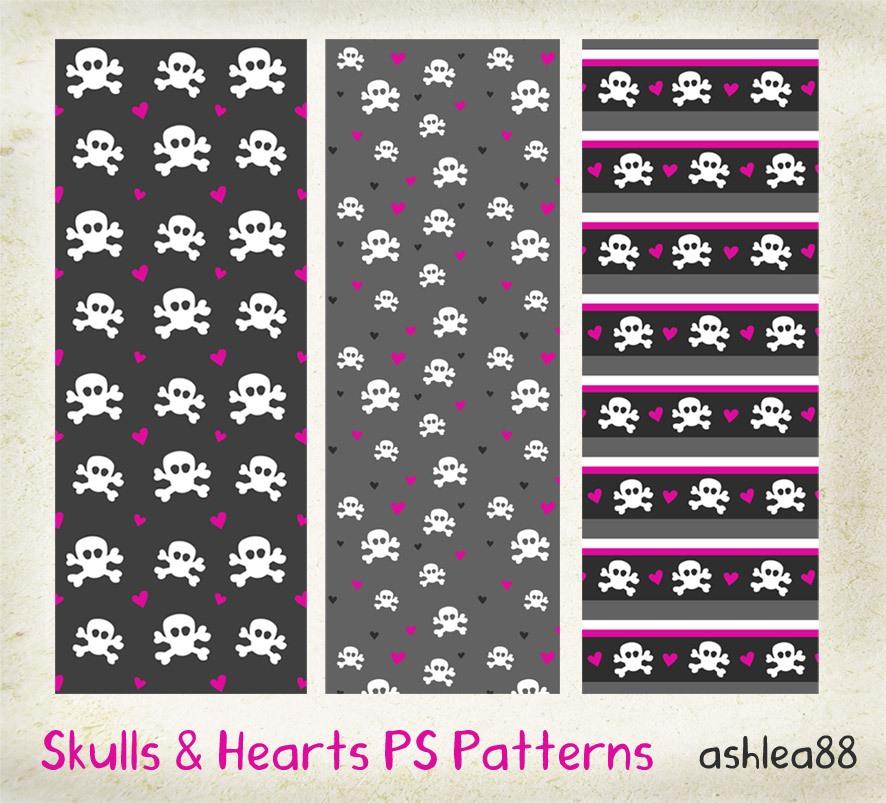 Skulls and Hearts Photoshop brush
