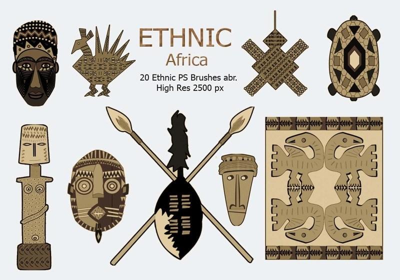 20 Ethnic PS Brushes abr. vol.2 Photoshop brush