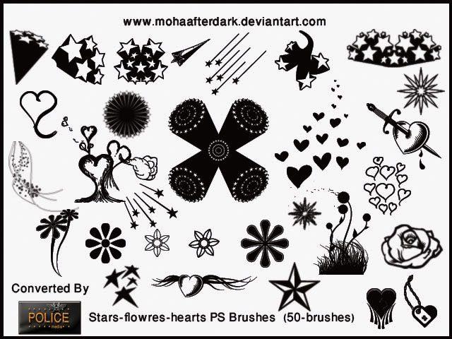 Stars Flowers Hearts Photoshop brush