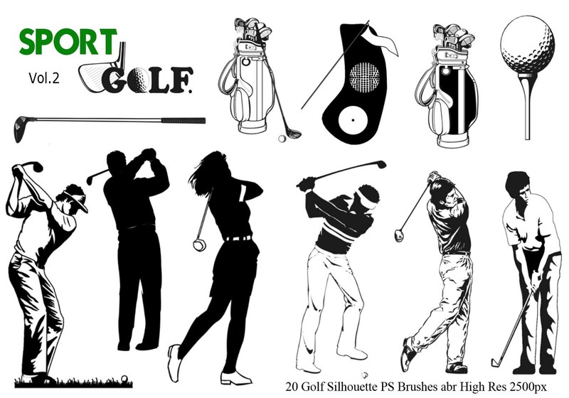 Golf Silhouette PS Brushes abr. vol. 2 Photoshop brush
