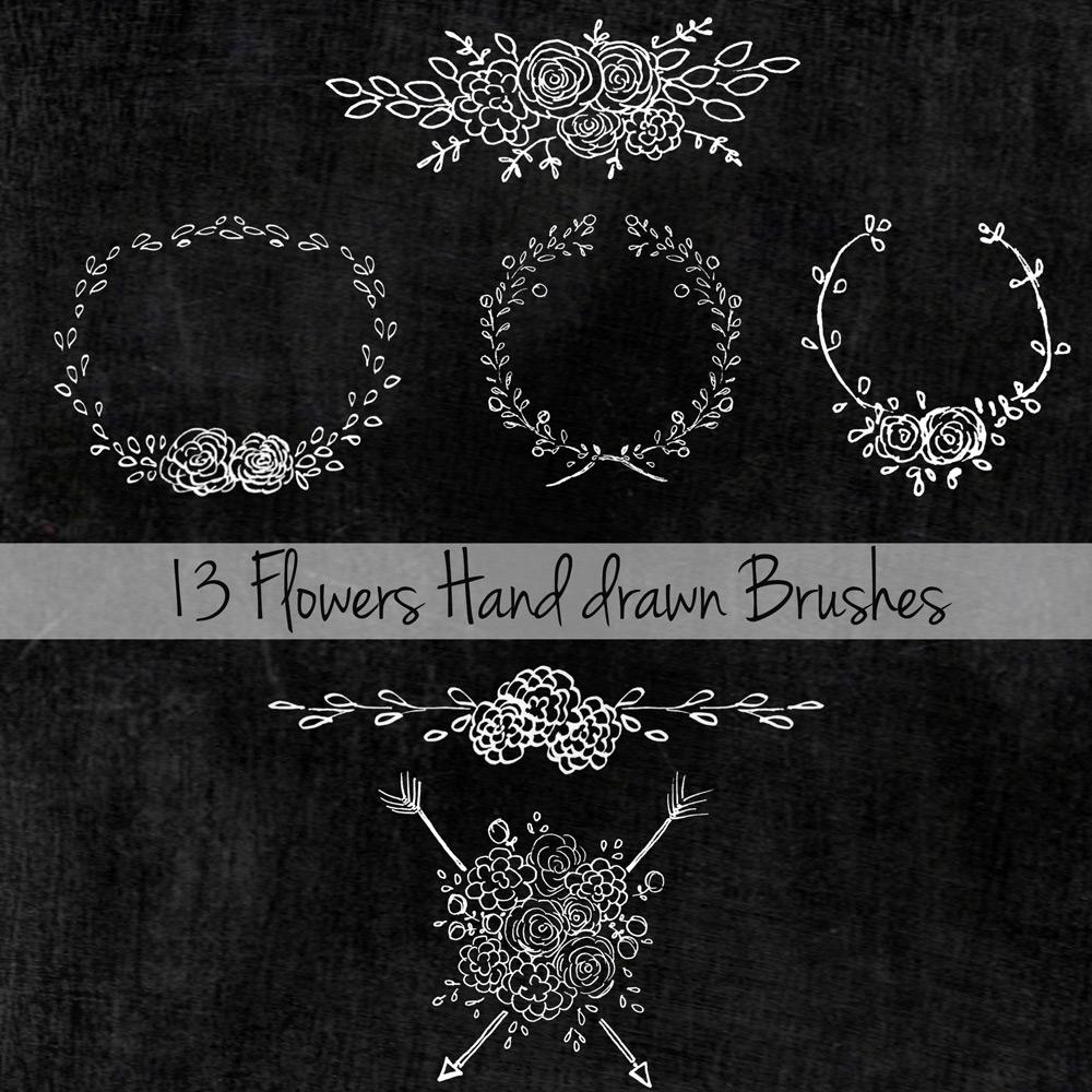 13 Flowers Hand Drawn Brushes Photoshop brush