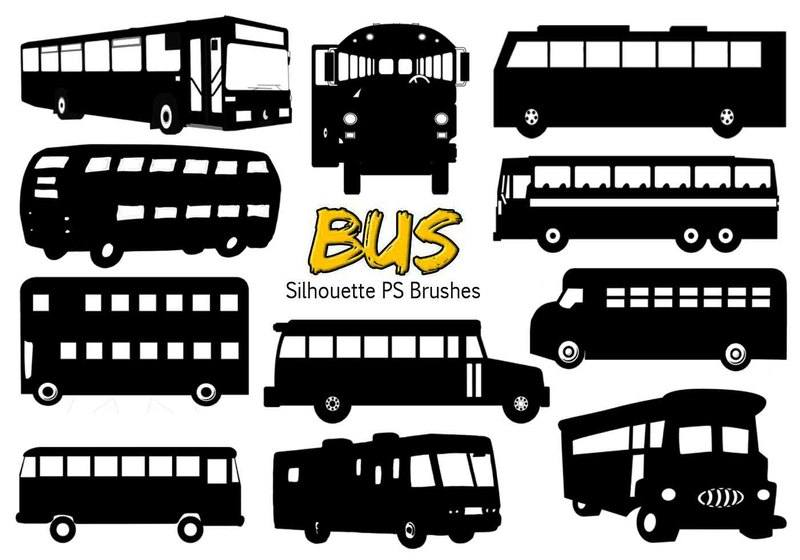 20 Bus Silhouette Ps Brushes vol.4 Photoshop brush