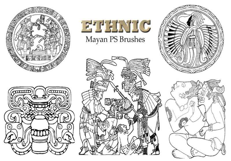 20 Mayan Ethnic PS Brushes abr.  vol.4 Photoshop brush