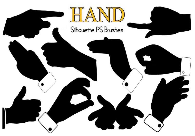 20 Silhouette Hand PS Brushes abr Photoshop brush