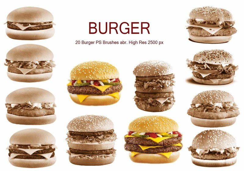 20 Burger PS Brushes abr. vol.1 Photoshop brush