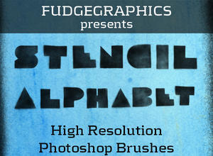 Stencil Alphabet Brush Set Photoshop brush