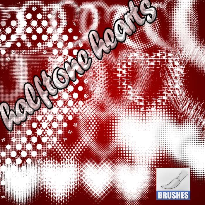 Halftone Hearts Photoshop brush