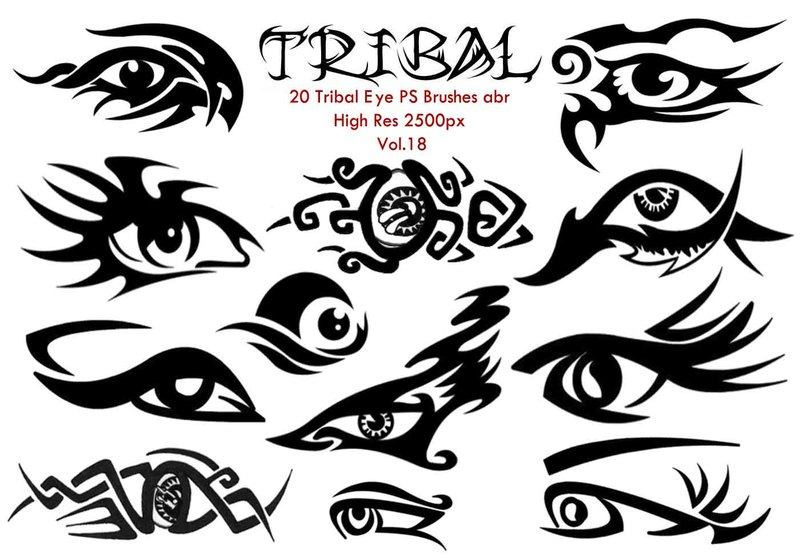 20 Tribal Eye PS Brushes Vol.18 Photoshop brush