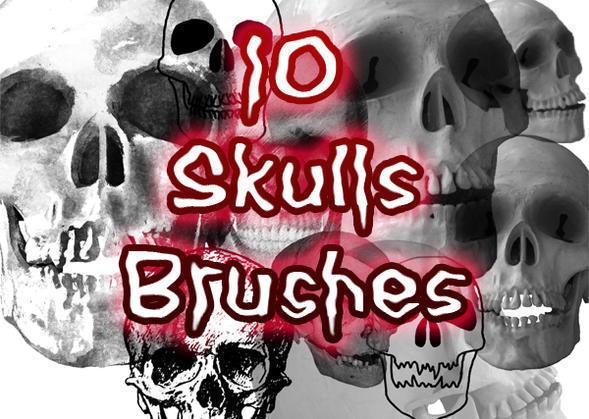 10 Creepy Skulls Brushes Photoshop brush