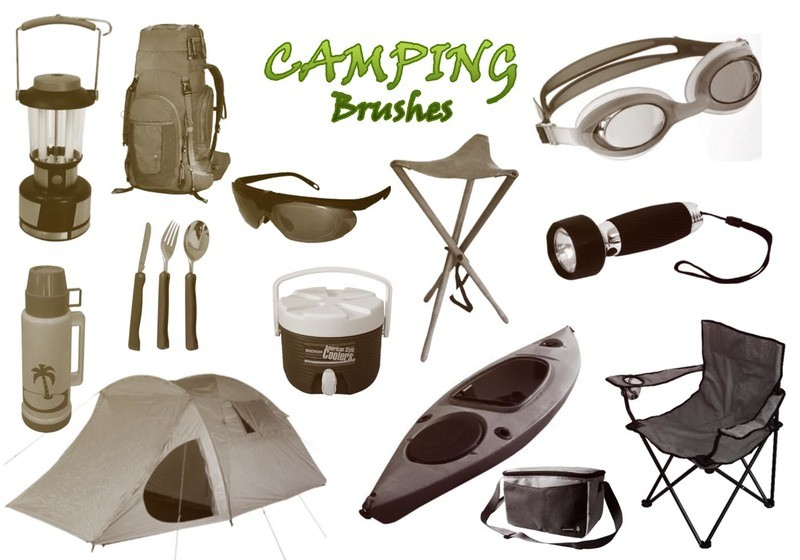 20 Camping PS Brushes abr. High Res. Photoshop brush