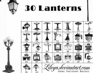 Old Lanterns Brush Set Photoshop brush