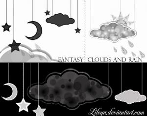 Fantasy Clouds and Rain Photoshop brush