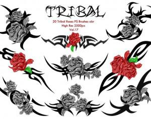 20 Tribal Roses PS Brushes Vol.17 Photoshop brush