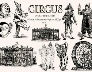 20 Engraved Circus Ps Brushes vol.6 Photoshop brush