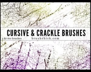 3 Cursive and Crackle Brush Pack Photoshop brush