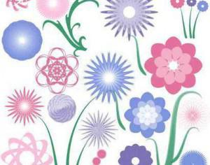 20 flower radials plus 4 stems Photoshop brush