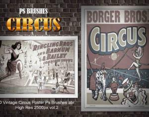 20 Vintage Circus Poster Ps Brushes vol.2 Photoshop brush