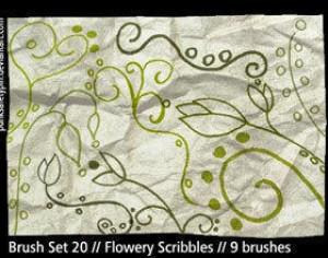 Flowery Scribble Photoshop Brushes Photoshop brush