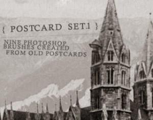Old Post Card Brush Set I Photoshop brush