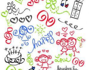 Happy Girly Girl Love Doodles Brush Set Photoshop brush