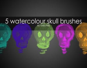 5 Handpainted Watercolour Skull Brushes Photoshop brush