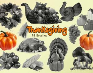 20 Thanksgiving PS Brushes abr. Vol.1 Photoshop brush