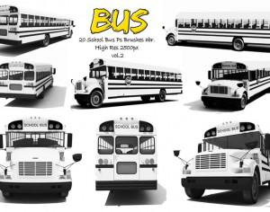 20 School Bus  Ps Brushes vol.2 Photoshop brush