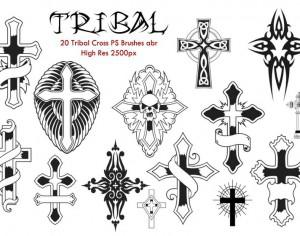 20 Tribal Cross PS Brushes abr. Photoshop brush