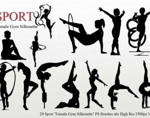 "Sport ""Female Gym Silhouette"" PS Brushes Photoshop brush"