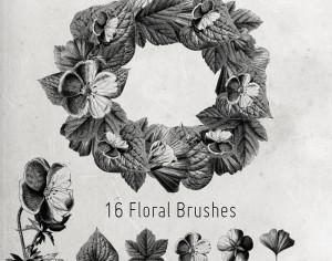 16 Flower and Leaves Brushes Photoshop brush