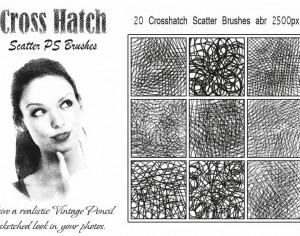 20 Cross Hatch Scatter PS Brushes abr Photoshop brush